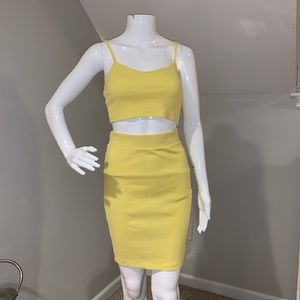 Yellow ripped crop top & skirt set